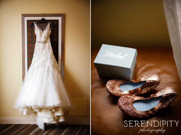First Evangelical Lutheran Church weddings, wedding gown and shoes